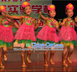 Chinese Girls Flower Dance Costumes and Headwear Complete Set for Children