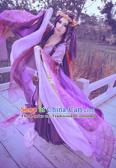 Ancient Chinese Fairy Costumes and Headwear Complete Set for Women