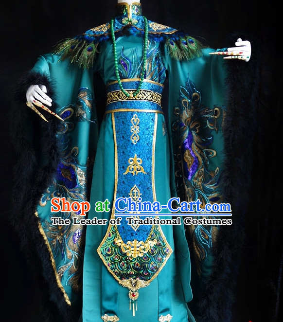 Asian Chinese Peacock Emperor Halloween Costumes Complete Set