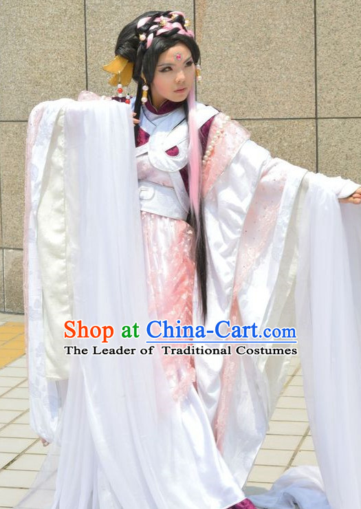 Ancient Chinese Fairy Halloween Costumes and Headwear Complete Set for Women