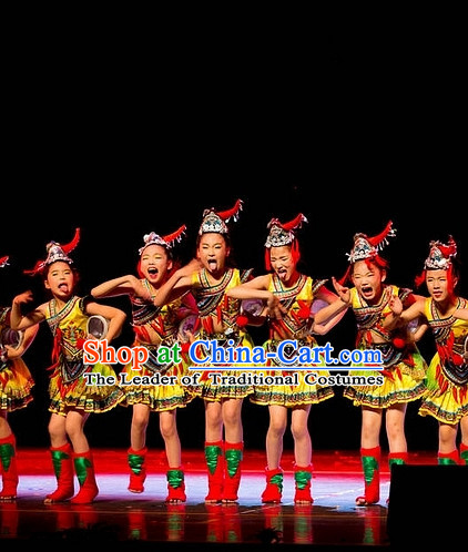 Chinese Folk Ethnic Dance Costumes and Hat for Kids