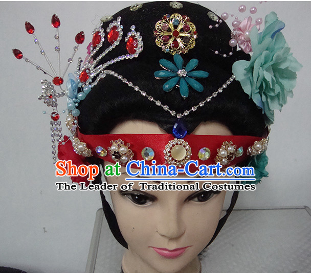 Chinese Opera Peking Opera Cantonese Opera Pearl Tower Hairstyles Fascinators Fascinator Wholesale Jewelry Hair Pieces and Black Wigs
