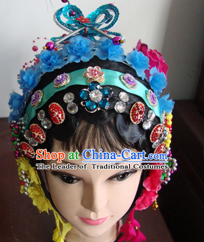 Handmade Ancient Chinese Peking Opera Hua Dan Wigs and Hair Pieces Set