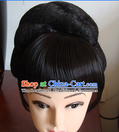 Chinese Stage Theatrical Performances Li Yugang Black Long Wigs