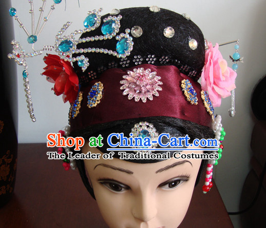 Chinese Opera Stage Theatrical Performances Rich Lady Black Long Wigs and Head Pieces