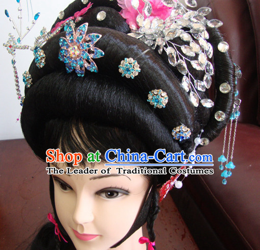 Chinese Opera Stage Theatrical Performances Hua Dan Black Long Wigs and Head Pieces