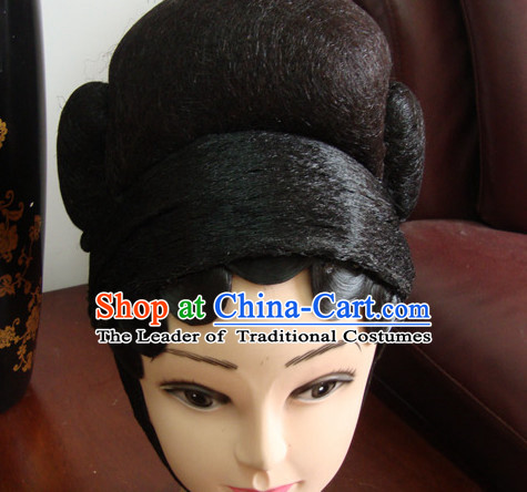 Chinese Opera Stage Theatrical Performances Ancient China Beauty Black Long Wigs
