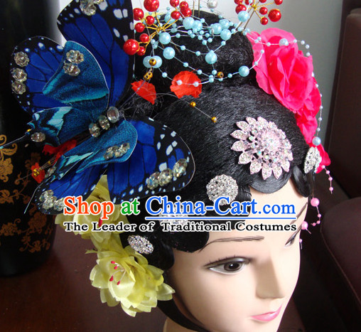 Chinese Stage Dancel Performances Queen Butterfly Hair Jewelry and Black Long Wigs