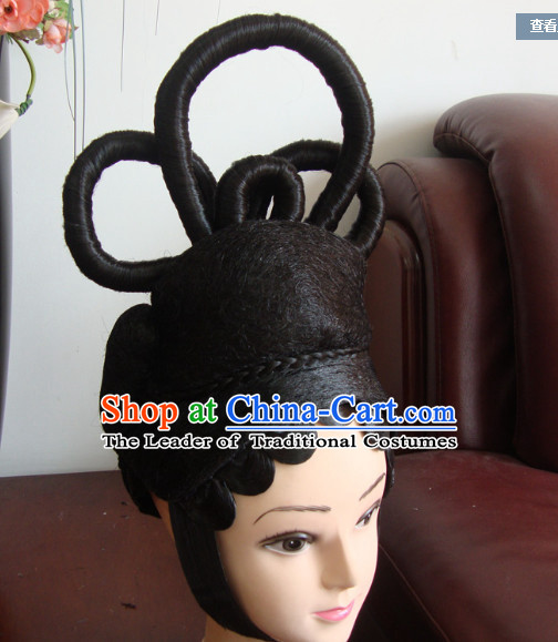 Ancient Chinese Stage Queen Black Long Wigs