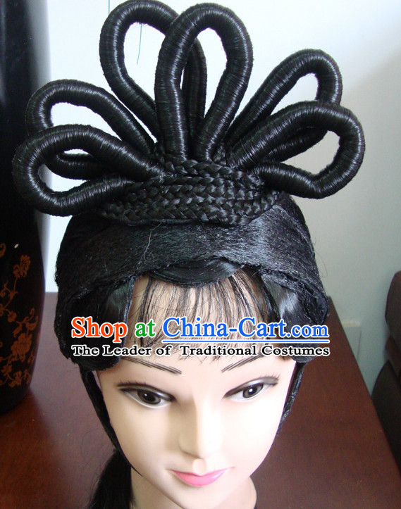 China Stage Performance Qing Yi Hairstyles Long Black Wigs Fascinators Fascinator Wholesale Jewelry Hair Pieces