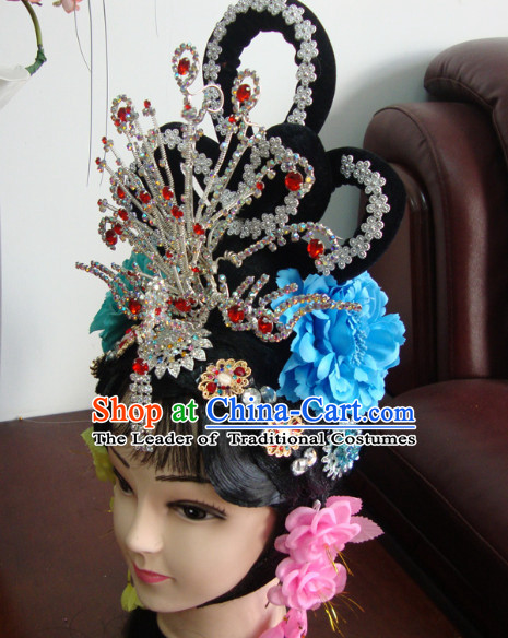 China Opera Hua Tan Phoenix Hairstyles Long Black Wigs Fascinators Fascinator Wholesale Jewelry Hair Pieces