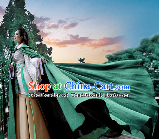 Chinese Costume Traditional Clothing Long Green Mantle