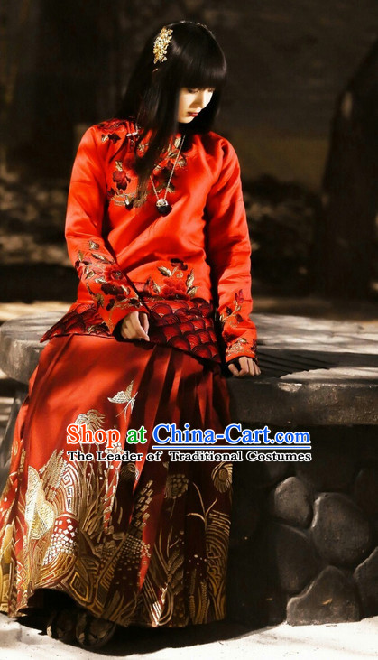 Chinese Minguo Time Lucky Red Female Clothing Traditional Clothes Suit