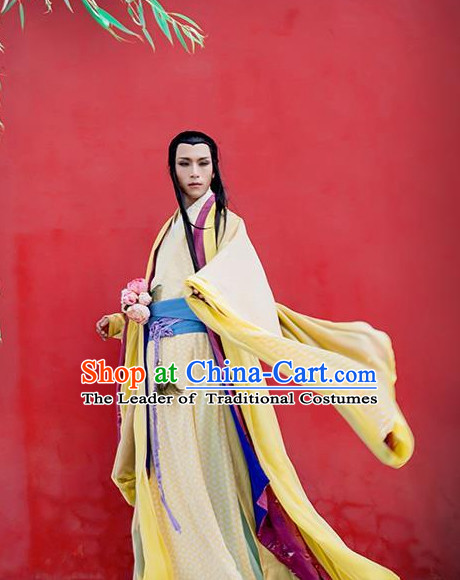 Chinese Ancient Yellow Superhero Garment for Men