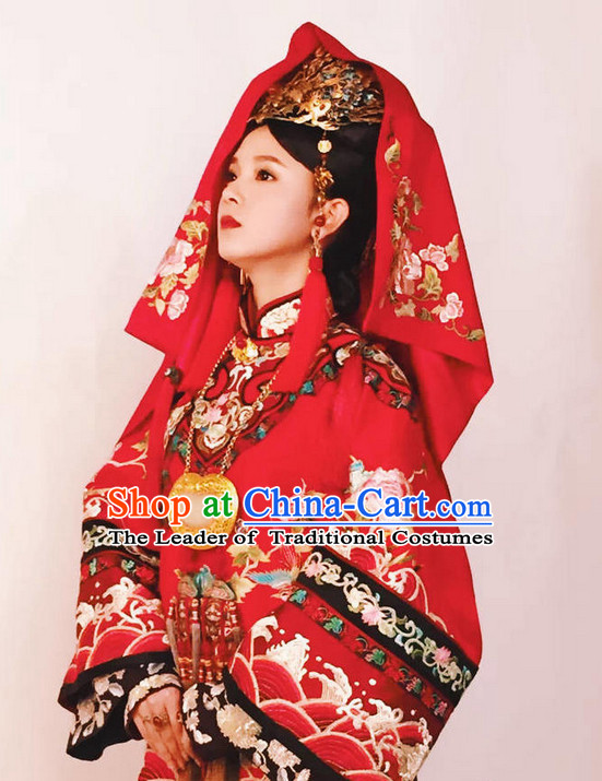 Chinese Ancient Red Wedding Garment for Brides