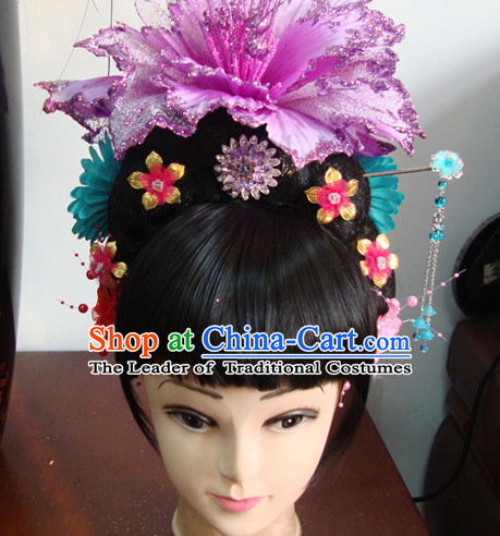 Chinese Professional Stage Theatrical Performances Li Yugang Long Wigs and Hair Jewelry Set