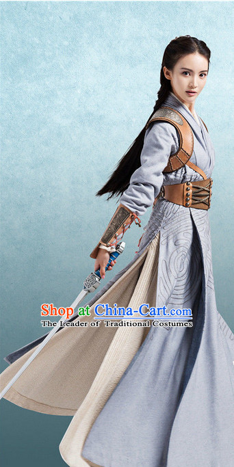 Chinese Ancient Superhero Female Costumes Garment Complete Set