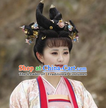 Chinese Ancient Princess Black Wigs and Hair Jewelry Set