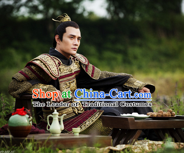 Chinese Ancient Emperor Armor Dresses online Designer Halloween Costume Wedding Gowns Dance Costumes Cosplay and Hair Jewelry Complete Set