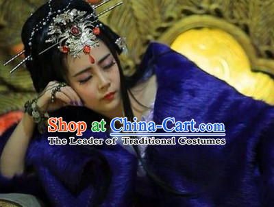Chinese Ancient Princess Cosplay Black Wigs and Hair Jewelry Set