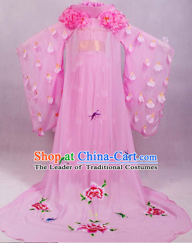 Chinese Ancient Empress Pink Wedding Dresses online Designer Halloween Costume Wedding Gowns Dance Costumes Cosplay and Hair Jewelry Complete Set