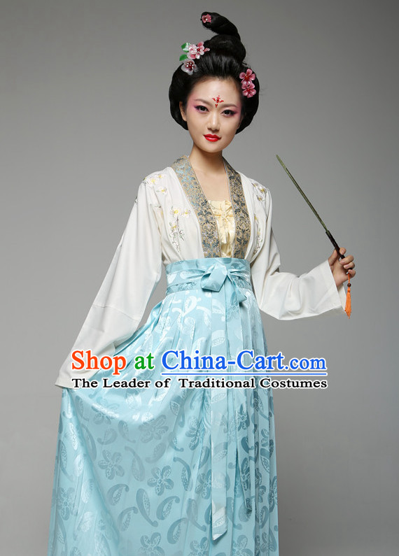 Chinese Ancient Han Fu Costume and Hair Jewelry for Women
