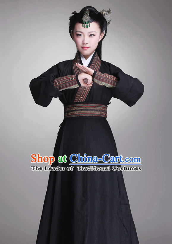 Chinese Ancient Swordswomen Halloween Costume and Hair Jewelry for Women