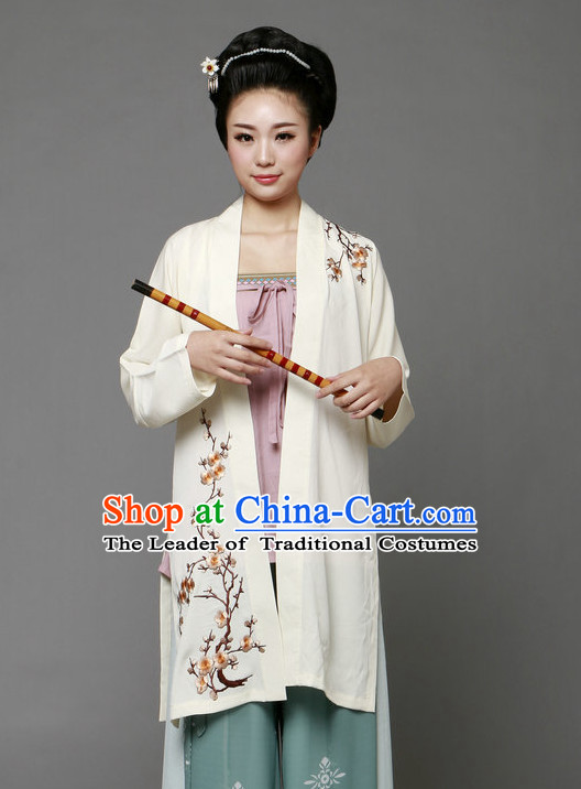 Chinese Ancient Female Poet Halloween Costume and Hair Jewelry for Women