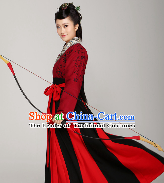 Chinese Ancient Female Archer Halloween Costumes and Hair Jewelry for Women