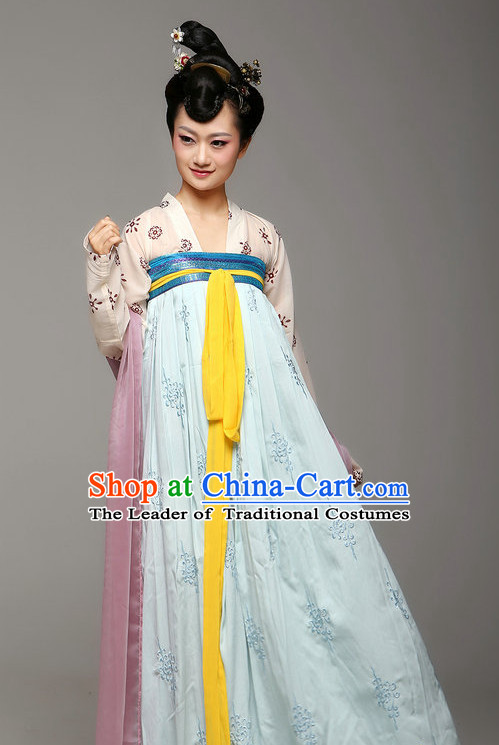 Chinese Ancient Female Tang Dynasty Lady Halloween Costumes and Hair Jewelry