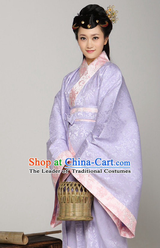 Chinese Ancient Female Noblewomen Halloween Costumes and Hair Jewelry