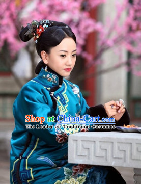 Asian Chinese Qing Dynasty Rich Lady Clothing Complete Set