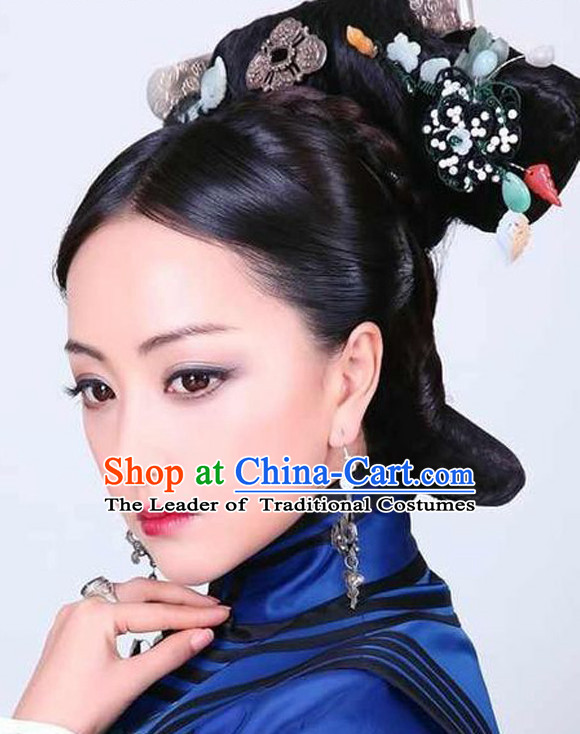 Chinese Ancient Qing Dynasty Black Wigs and Hair Jewelry