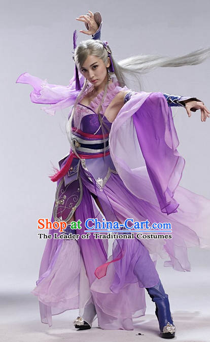 Purple Asia Chinese Fairy Halloween Costume Cosplay Costumes and Hair Accessories Complete Set
