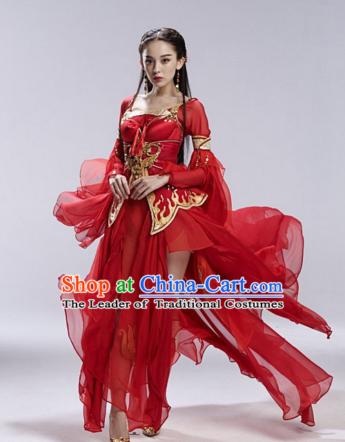Red Asia Chinese Fairy Halloween Costume Cosplay Costumes and Hair Accessories Complete Set