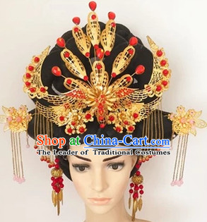 Chinese Ancient Queen Black Wigs and Hair Accessories