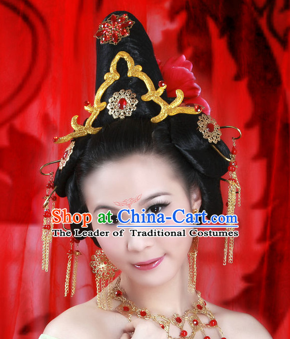 Chinese Ancient Imperial Princess Black Wigs Hairstyles Hair Jewelry