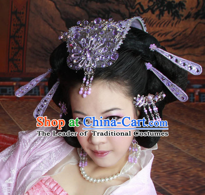 Chinese Ancient Imperial Princess Black Wigs Hairstyles and Hair Decorations
