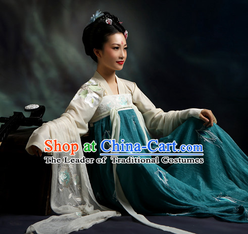 Ancient Chinese Tang Dynasty Hanfu Costumes Clothes and Hair Jewelry Complete Set for Women