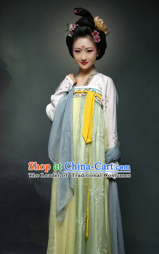 Ancient Chinese Tang Dynasty Princess Clothing and Hair Jewelry Complete Set for Women