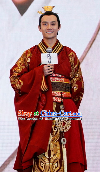 Ancient Chinese Qing Dynasty Prince Hanfu Clothes and Crown for Men