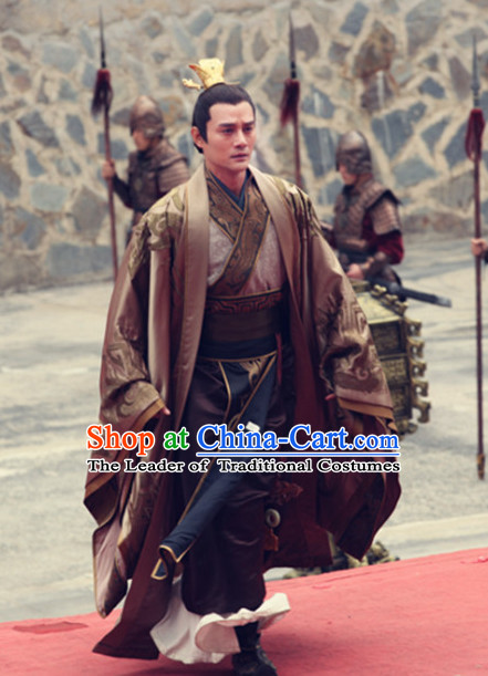 Chinese Ancient Emperor Hanfu Clothing and Handmade Headpieces for Men