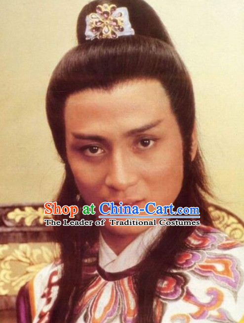 Ancient Chinese Black Wigs and Headpieces for Men
