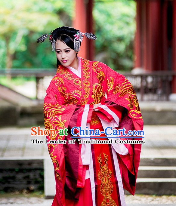 Traditional Chinese Wedding Bridal Gowns Clothing and Handmade Hair Accessories Complete Set