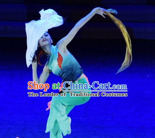 Chinese Classic Color Transition Dance Costume and Headwear Complete Set for Girls or Women