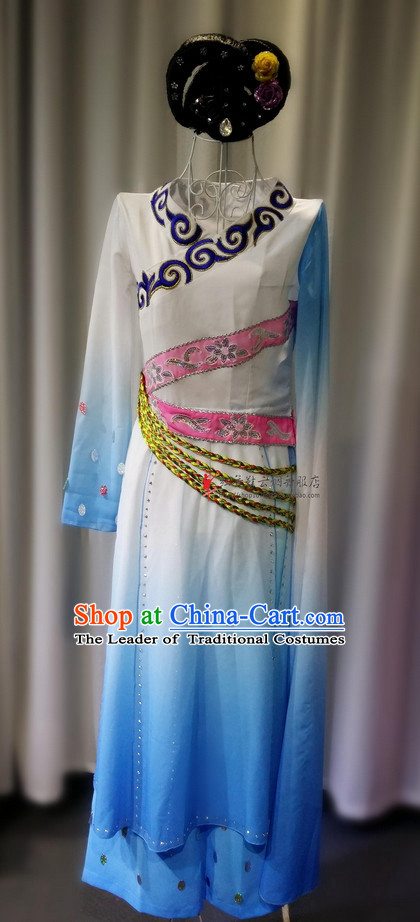 Chinese Folk Ethnic Dance Costume and Hat Complete Set for Girls or Women