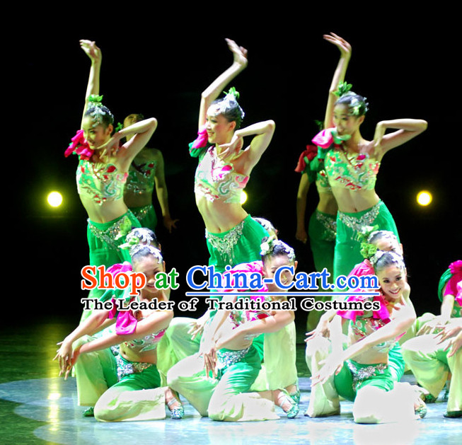 Chinese Competition Dance Costume and Headpieces Complete Set for Girls or Women
