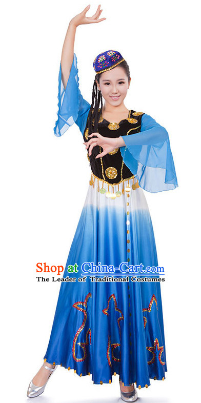 Chinese Xinjiang Dance Costume Wholesale Clothing Discount Dance Costumes Dancewear Supply and Hat for Girls