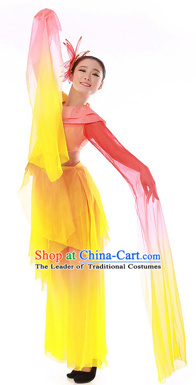 Chinese Long Water Sleeves Classical Dance Costume Wholesale Clothing Discount Dance Costumes Dancewear Supply and Headpieces for Girls