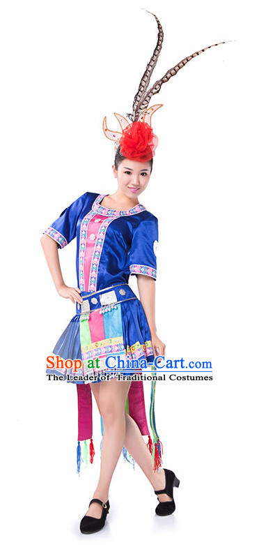 Chinese Folk Miao Ethnic Dance Costume Wholesale Clothing Discount Dance Costumes Dancewear Supply and Headpieces for Ladies